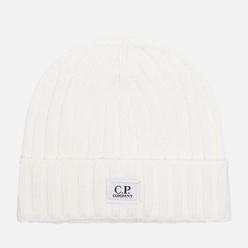 Шапка C.P. Company Extrafine Merino Wool Logo Gauze White