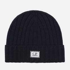 Шапка C.P. Company Extrafine Merino Wool Logo Total Eclipse