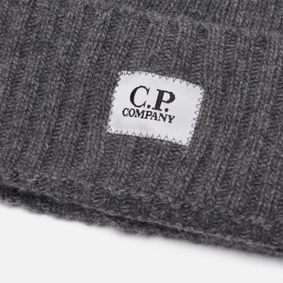Шапка C.P. Company Lambswool Logo Tarmac Grey