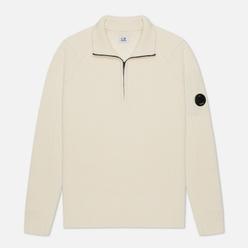 Мужской свитер C.P. Company 1/4 Zip Lambswool Gauze White
