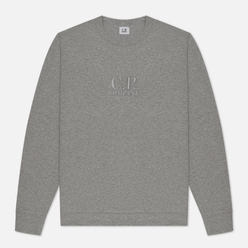 Мужская толстовка C.P. Company Diagonal Raised Fleece Logo Grey Melange