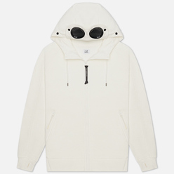 Мужская толстовка C.P. Company Goggle Full Zip Hoodie Diagonal Raised Fleece Gauze White