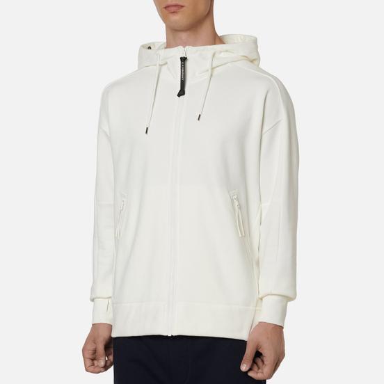 Мужская толстовка C.P. Company Goggle Full Zip Hoodie Diagonal Raised Fleece Gauze White