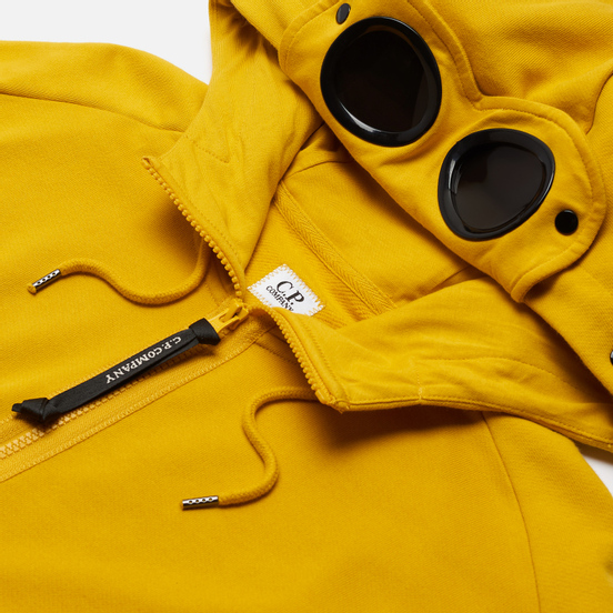Мужская толстовка C.P. Company Goggle Full Zip Hoodie Diagonal Raised Fleece Golden Yellow