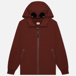 Мужская толстовка C.P. Company Goggle Full Zip Hoodie Diagonal Raised Fleece Cinnamon