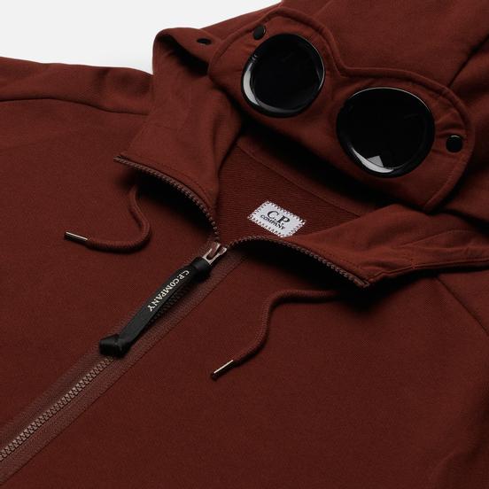 Мужская толстовка C.P. Company Goggle Full Zip Hoodie Diagonal Raised Fleece Cinnamon