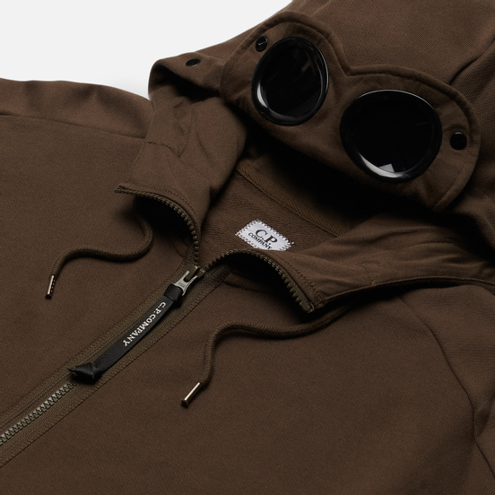 Мужская толстовка C.P. Company Goggle Full Zip Hoodie Diagonal Raised Fleece Ivy Green