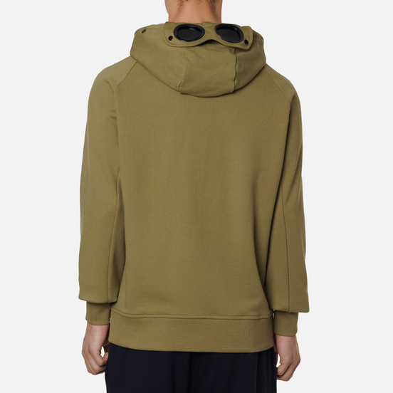 Мужская толстовка C.P. Company Goggle Full Zip Hoodie Diagonal Raised Fleece Martini Olive