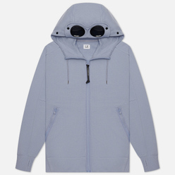 Мужская толстовка C.P. Company Goggle Full Zip Hoodie Diagonal Raised Fleece Blue Fog