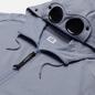 Мужская толстовка C.P. Company Goggle Full Zip Hoodie Diagonal Raised Fleece Blue Fog фото - 1