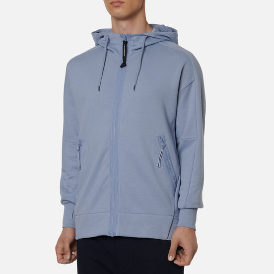 Мужская толстовка C.P. Company Goggle Full Zip Hoodie Diagonal Raised Fleece Blue Fog