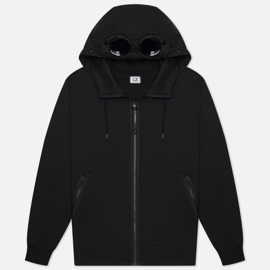 Мужская толстовка C.P. Company Goggle Full Zip Hoodie Diagonal Raised Fleece Black