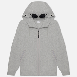 Мужская толстовка C.P. Company Goggle Full Zip Hoodie Diagonal Raised Fleece Grey Melange