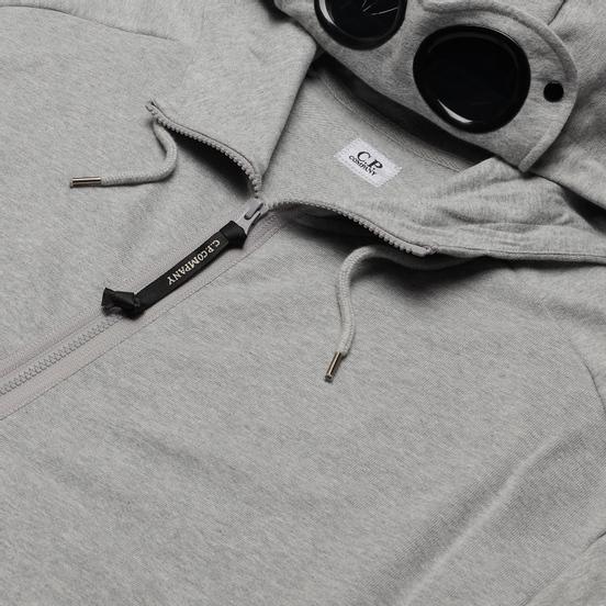 Мужская толстовка C.P. Company Goggle Full Zip Hoodie Diagonal Raised Fleece Grey Melange
