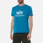 Мужская футболка Alpha Industries Basic Blue Lagoon фото - 2