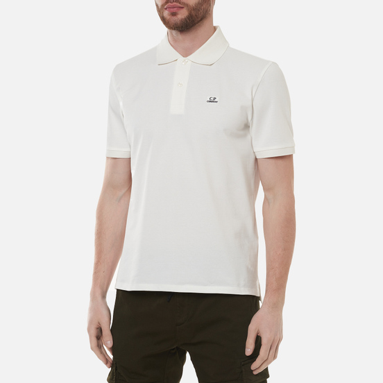 Мужское поло C.P. Company Stretch Pique Classic Logo Gauze White