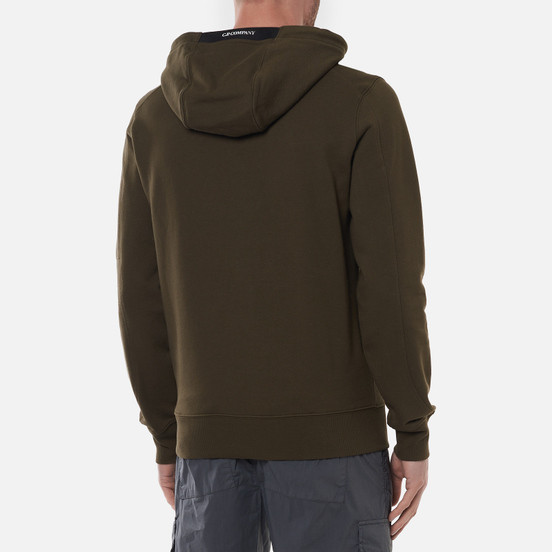Мужская толстовка C.P. Company Diagonal Raised Fleece Garment Dyed Lens Hooded Ivy Green
