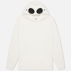 Мужская толстовка C.P. Company Diagonal Fleece Hooded Goggle Gauze White