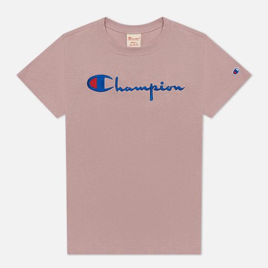 Женская футболка Champion Reverse Weave Script Logo Crew Neck Soft Berry