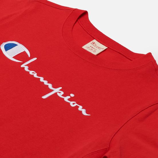Женская футболка Champion Reverse Weave Script Logo Crew Neck Racing Red