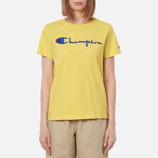 Женская футболка Champion Reverse Weave Script Logo Crew Neck Yellow