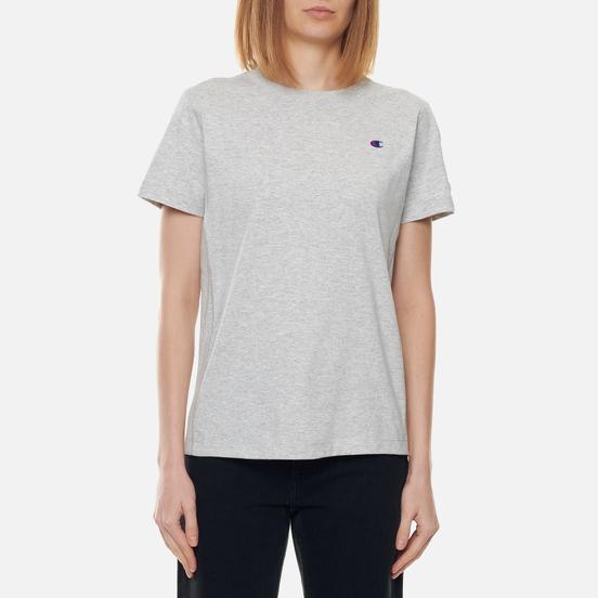 Женская футболка Champion Reverse Weave Embroidered C Logo Chest And Sleeve Light Grey
