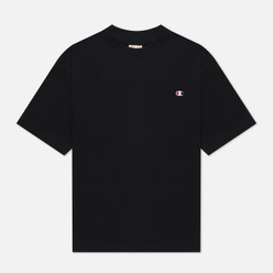 Женская футболка Champion Reverse Weave Embroidered C Logo Chest And Sleeve Cropped Black