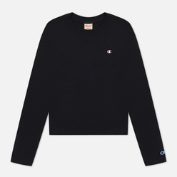 Женский лонгслив Champion Reverse Weave Embroidered C Logo Chest And Sleeve Cropped Black