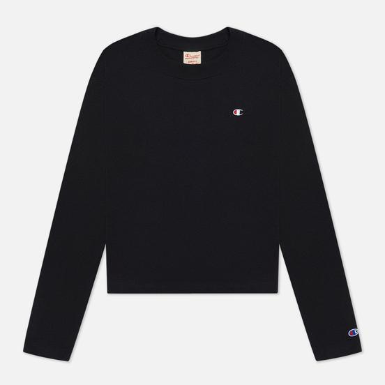 Женский лонгслив Champion Reverse Weave Embroidered C Logo Chest And Sleeve Cropped Black