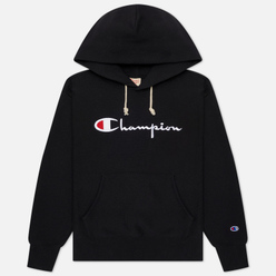 Женская толстовка Champion Reverse Weave Big Script Chest & Logo Sleeve Hooded Black