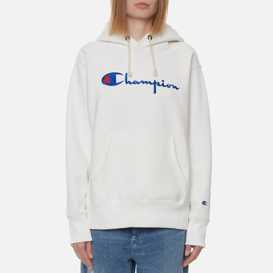 Женская толстовка Champion Reverse Weave Big Script Chest & Logo Sleeve Hooded White