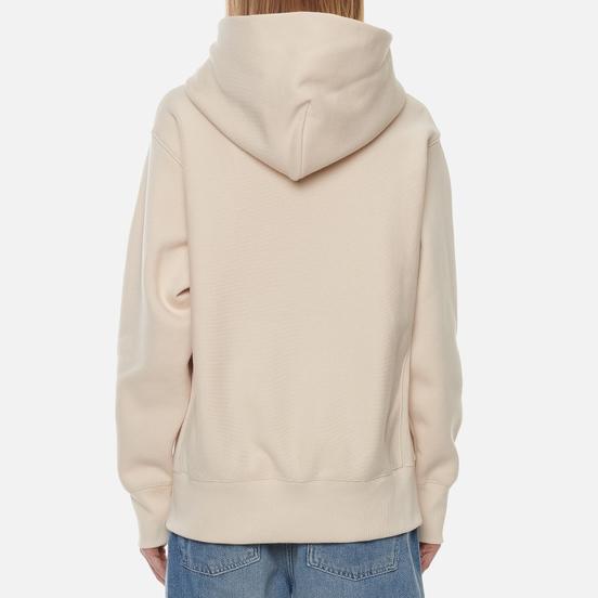 Женская толстовка Champion Reverse Weave Big Script Chest & Logo Sleeve Hooded Bone
