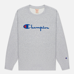 Женская толстовка Champion Reverse Weave Script Logo Chest And C Logo Sleeve Light Grey