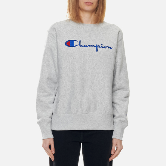 Женская толстовка Champion Reverse Weave Script Logo Chest And C Logo Sleeve Light Grey