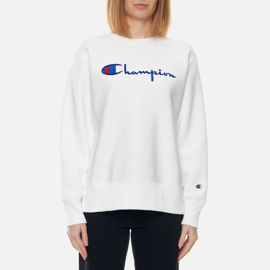 Женская толстовка Champion Reverse Weave Script Logo Chest And C Logo Sleeve White