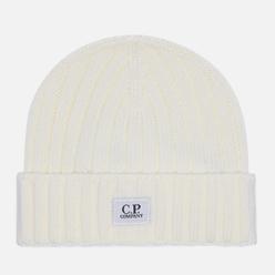 Шапка C.P. Company Extra Fine Merino Wool Logo Gauze White