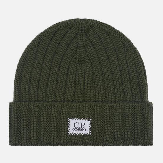 Шапка C.P. Company Extra Fine Merino Wool Logo Stone Grey