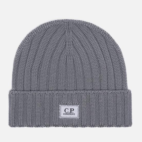 Шапка C.P. Company Extra Fine Merino Wool Logo Moon Mist