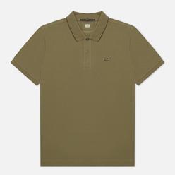 Мужское поло C.P. Company Stretch Pique Classic Logo Badge Stone Grey