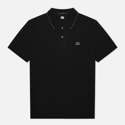 Мужское поло C.P. Company Stretch Pique Classic Logo Badge Black