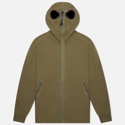Мужская толстовка C.P. Company Diagonal Raised Fleece Explorer Goggle Hoodie Stone Grey