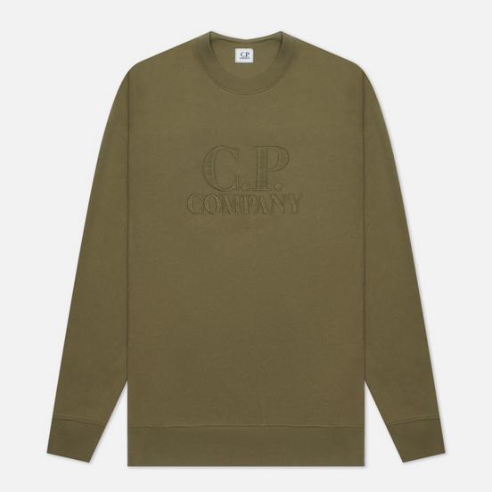 Мужская толстовка C.P. Company Diagonal Raised Fleece Logo Crew Neck Stone Grey