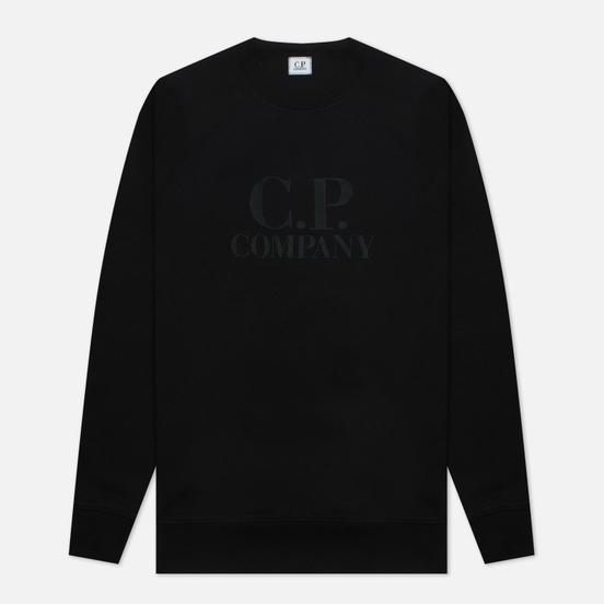 Мужская толстовка C.P. Company Diagonal Raised Fleece Logo Crew Neck Black