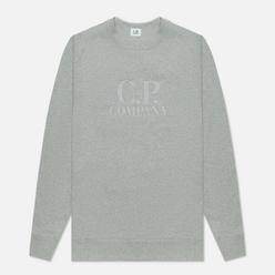 Мужская толстовка C.P. Company Diagonal Raised Fleece Logo Crew Neck Grey Melange