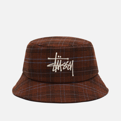 Панама Stussy Big Logo Plaid Brown