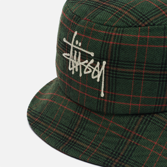 Панама Stussy Big Logo Plaid Green