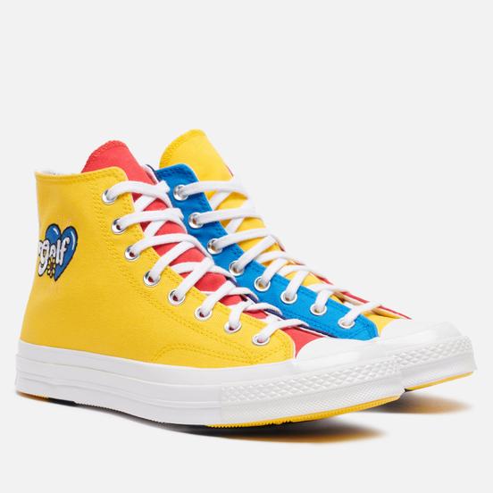 Мужские кеды Converse x Tyler The Creator Golf le Fleur Chuck 70 Hi Blue/Yellow/Red
