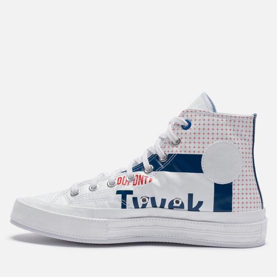 Мужские кеды Converse Chuck 70 Tyvek High White/Princess Blue/Fiery Red