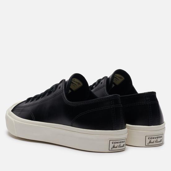 Мужские кеды Converse Jack Purcell Leather Low Black/Black/Egret