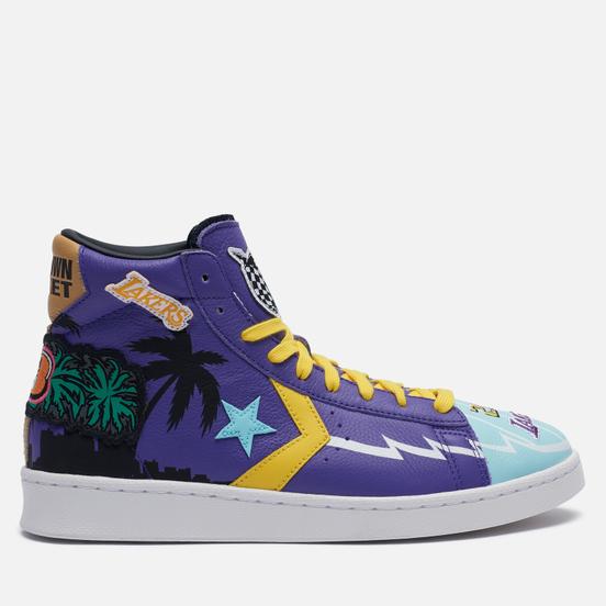 Мужские кеды Converse x Chinatown Market x NBA Pro Leather High Prism Violet/Poolside